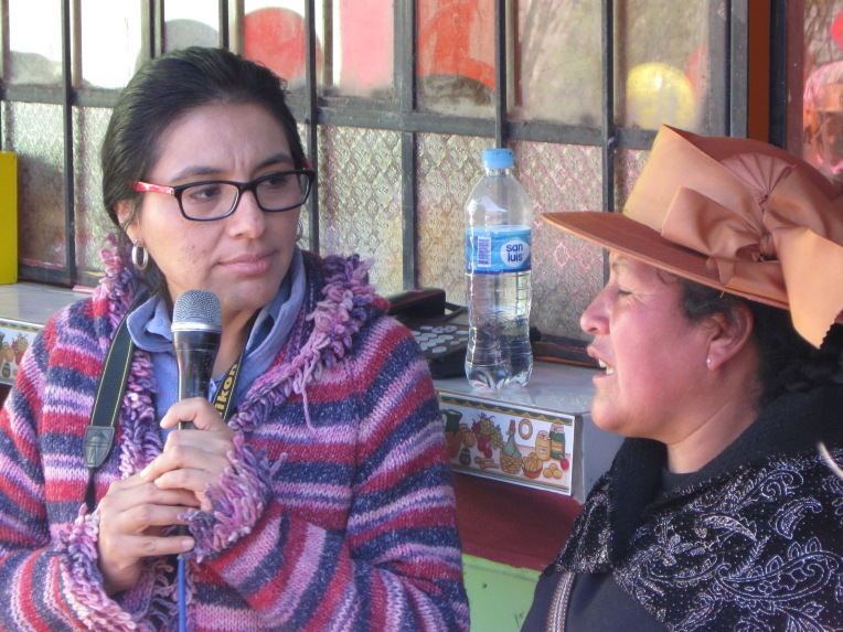 The project director speaks to the group (on the right). Soledad (left) translates.